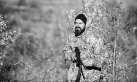 Harvest animals typically restricted. Hunting hobby concept. Experience and practice lends success hunting. Hunting. Season. Guy hunting nature environment royalty free stock image
