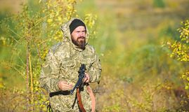 Harvest animals typically restricted. Hunting hobby concept. Experience and practice lends success hunting. Hunting. Season. Guy hunting nature environment stock images