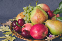 Harvest of autumn fruits in a wooden plate. Composition with autumn yellow leaves on black background. Stock Photos