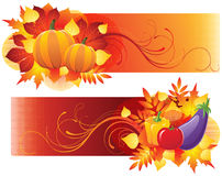 Harvest banners. With vegetables and autumn leaves stock illustration