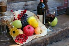 Harvest Basket filled with Fruit stock image