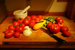 Harvest bounty - tomatoes, squash and green beans Royalty Free Stock Photo