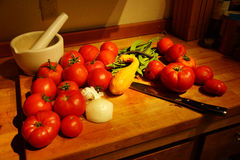 Harvest bounty - tomatoes, squash and green beans Royalty Free Stock Image