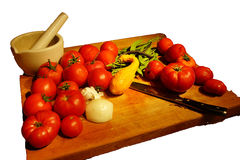 Harvest bounty - tomatoes, squash and green beans Stock Image