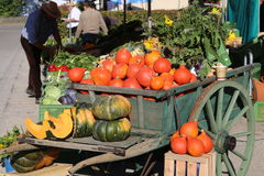 Harvest. A car full of pumpkins at a market after harvest Stock Photos