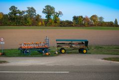 The harvest. Cart with pumpkin. Royalty Free Stock Image