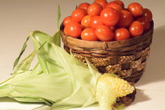 Harvest Cherry Tomatoes & Corn. Cherry tomatoes & corn from thr garden Love Harvest time Royalty Free Stock Photography