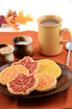Harvest cookies. Harvest theme cookies with tea Royalty Free Stock Image