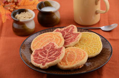 Harvest cookies. Harvest theme cookies with tea Royalty Free Stock Photos