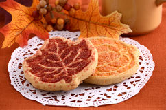 Harvest cookies. With autumn leaves Stock Images