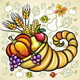 Harvest cornucopia. Thanksgiving theme: Harvest cornucopia with fruits and vegetables Stock Image