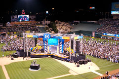 Harvest Crusade. People coming down on the field during the Harvest Crusade at Angels Stadium Stock Image