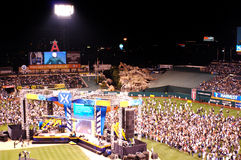 Harvest Crusade. People coming down on the field during the Harvest Crusade at Angels Stadium Royalty Free Stock Photos