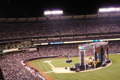 Harvest Crusade. People in the stands during the Harvest Crusade at Angels Stadium listening to Pastor Greg Laurie, of Harvest Christian Fellowship in Riverside Royalty Free Stock Images