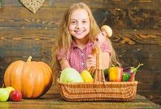 Harvest festival concept. Farm market fall harvest. Child girl presenting harvest of her vegetable garden on wooden royalty free stock photography
