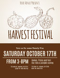 Harvest Festival flyer with hand drawn gourds. On a simple background stock illustration
