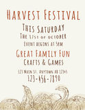 Harvest Festival Flyer Template. Harvest Festival poster with hand drawn watercolor gourds Stock Photo