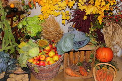 Harvest festival fruits and vegetables Royalty Free Stock Photo