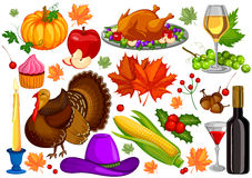 Harvest festival Happy Thanksgiving Day holiday celebration. Vector illustration Royalty Free Stock Photo