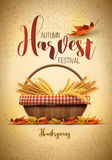 Harvest Festival Poster Design. Vector autumn harvest festival poster design template. Elements are layered separately in vector file Stock Photo