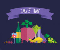 Harvest food vector icons objects Stock Photo