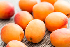 Harvest of fresh ripe apricots Royalty Free Stock Images