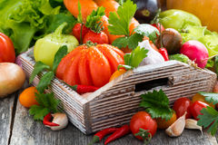 Harvest of fresh seasonal vegetables in a wooden box, horizontal Royalty Free Stock Photos