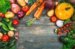 Harvest fresh vegetables autumn still-life on old Stock Photos