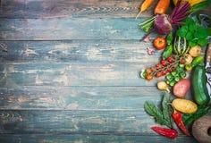 Harvest fresh vegetables autumn still-life on old Royalty Free Stock Photo