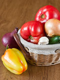 Harvest of fresh vegetables in basket Royalty Free Stock Photo