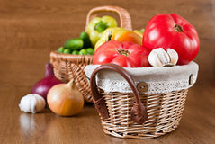 Harvest of fresh vegetables in baskets Royalty Free Stock Images
