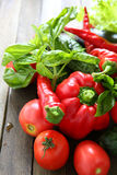 Harvest of fresh vegetables on the boards Royalty Free Stock Photos