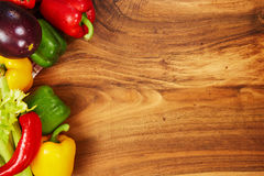 Harvest of fresh vegetables and greens on the boards, top view Royalty Free Stock Photography