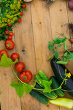 Harvest of fresh vegetables on wooden background. Top view. Potatoes, carrot, squash, peas, tomatoes Stock Images