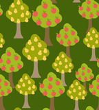 Harvest fruit trees. Texture with a variety of Apple and pear tr. Ees in the garden. Fall season previews with fruit trees at harvest time. Seamless pattern vector illustration