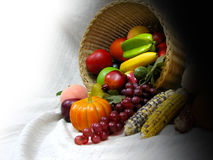 Harvest Fruits. Thanks giving with colourful fruits in a basket Royalty Free Stock Image