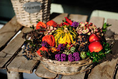 Harvest Fruits In A Basket Stock Image