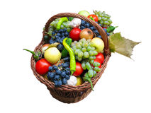 Harvest fruits and vegetables in a wooden box Royalty Free Stock Photography