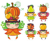 Harvest girls vector illustration