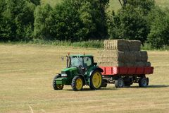 Harvest of hay in Slovakia under the High Tatras stock images