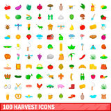 100 harvest icons set, cartoon style. 100 harvest icons set in cartoon style for any design vector illustration Royalty Free Stock Photos
