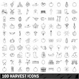 100 harvest icons set, outline style. 100 harvest icons set in outline style for any design vector illustration Royalty Free Stock Photography
