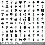 100 harvest icons set, simple style. 100 harvest icons set in simple style for any design vector illustration Stock Illustration