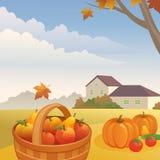 Harvest. Illustration of an autumn day at the farm Stock Photos