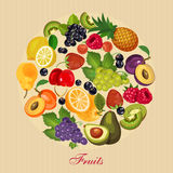 Harvest juicy fruit and berries, vector illustration. Green grocery Royalty Free Stock Images