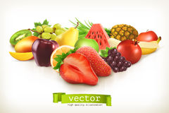 Harvest juicy fruits and berries. Vector illustration isolated on white background Stock Photo