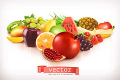 Harvest juicy and ripe fruits Stock Photos