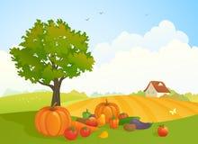 Harvest landscape. Illustration of a harvest time landscape with fruit and vegetables Royalty Free Stock Image