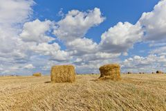 Harvest landscape with straw bales amongst fields in autumn. In a cloudy day, Russia, Ukraine, Belarus Stock Photos