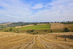 Harvest landscape. A harvest landscape vista in rolling hills on the yorkshire wolds england with round straw bales and patchwork fields under a blue cloudy sky Stock Photo